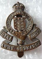 WW1 Royal Army Ordnance Corps Cap Badge KC Bronze Slider ANTIQUE Genuine