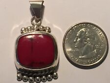 Silver~925~Mexico~Large Bale Vintage~Fancy Beaded~Coral~Pendant~Ster ling