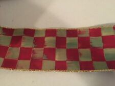 """Mackenzie Childs OrchardCheck Wired Ribbon 4"""" Wide by the Yard   NEW"""