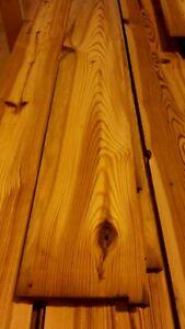 Barnwood heart pine wide plank flooring wall covering diy floating shelf table