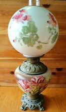 Parlor Oil Lamp Hurricane Boudoir Painted pink floral glass Globe brass Antique