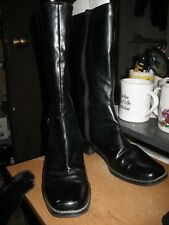 PREDICTIONS Tall Black Boots Size 8 Buckle Zipper Square Toe