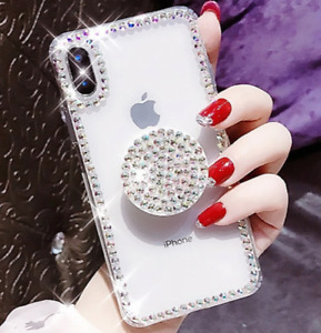 For iPhone Bling Crystal Gem Stone Case 11/12 MINI,PRO,PROMAX,X/XS,XR C/W HOLDER