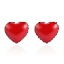 f286acdf0 Solid 925 Sterling Silver Red silicone Heart Stud Earrings For Women Girls