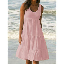 Fashion Womens Holiday Summer Solid Sleeveless Party Beach Knee Length Dress DA