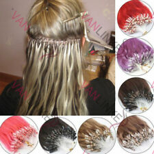 "16-26""Double Drawn Micro Ring Loop Bead Tip 100% Real Remy Human Hair Extensions"