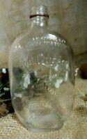 Vintage embossed Old Quaker Glass Liquor Whiskey Bottle
