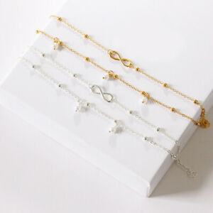 Women Ankle Bracelet Anklet Foot Chain Boho Pearl Beach Beads 2 layers Set Gift