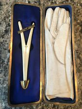 Antique Gloves & Stretcher in Case