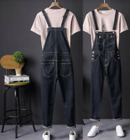 Mens Wash Denim Designer Dungaree Dungarees Jeans Bib Overalls Suspenders Pants