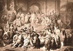 Rome EMPEROR NERO PERSECUTES NAKED NUDE CHRISTIAN WOMEN ~ 1882 Art Print Gravure