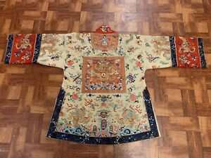Gorgeous Antique Chinese Qing Dynasty Silk & Fabric Dragon Rank Badge Robe