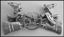 PEWTER CHARM #410 WITCHES CROSSED BROOMS PENTAGRAM (55mm x 28mm) 2 top holes