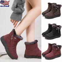 Women Winter Warm Shoes Snow Boots Fur-lined Slip On Warm Ankle Shoes Waterproof