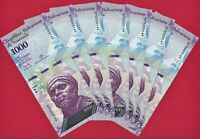 Dealer Lot of 7 UNC VENEZUELA NOTES:  1,000 Bolivares 2017 (P-95b) PRINTER: CdMV