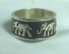925 Sterling Silver Elephant Motif Ring  8 grams size 8