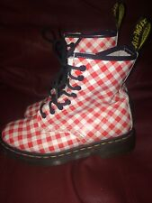 Dr Martens 8 Hole Red & White Gingham Checked Leather Boots Sz 4