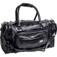 "17"" BLACK LEATHER Sports Tote Bag Gym Carry On Shoulder Travel Luggage Satchel"