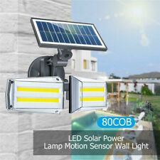 100W 80 LED COB Dual Head Solar Wall Light PIR Motion Sensor Outdoor Garden Lamp