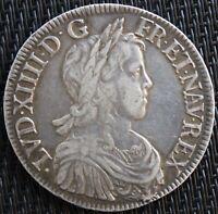FRANCE LOUIS XIIII ECU À LA MÈCHE LONGUE 1647 K  ARGENT