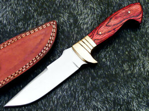 UNIQUE CUSTOM HANDMADE D2 STEEL BLADE BOWIE HUNTING KNIFE - HARD WOOD WD-9163