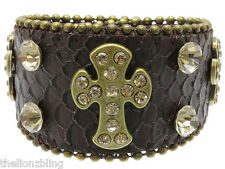 Urban Hip Hop Brown Leather Band Bracelet with Cross Pendants & Crystal Bling