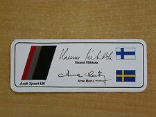 Audi Sport UK Rally Team (Hannu Mikkola) Motorsport Sticker Decal