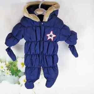 Baby Erstausstattung Winter Overall Schneeanzug Blau Winteranzug Junge 0-3 Mon