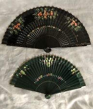Hand Painted Vintage Hand Fans lot of 2, 1-signed