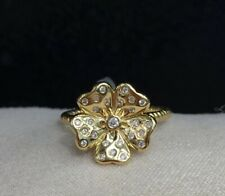 18k Solid Yellow Gold New Style 3D Flower Ring With Diamond 0.10CT , Size 6.5