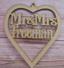 Personalised Mr and Mrs  MDF Heart Plaque craft blank