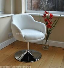 NEW WHITE FUNKY SWIVEL LOUNGE DINING BUCKET CHAIR, MODERN WHITE SWIVEL CHAIR