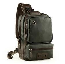 Men's Tactical Sling Chest Shoulder PU Leather Backpack Satchel Bag Day Packs