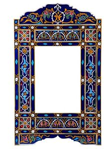 Navy Blue hanging mirror frame, Moroccan farmhouse decor of wood, hand-painted