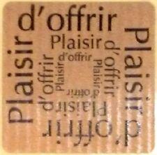12 Etiquettes stickers 'PLAISIR D'OFFRIR' Carrée Coloris Kraft /  Ref ROC7