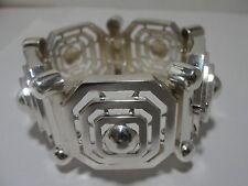 IMPRESSIVE 925 Sterling Silver Geometric Link Bracelet Acid Tested NEW 84.8gr
