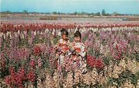 Chrome Postcard AZ I414 Phoenix Flower Gardens Japanese Children in Kimonos