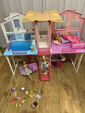barbie 3 storey town house Dly32 With 3 Barbie Dolls Furniture & Extras Boy Doll