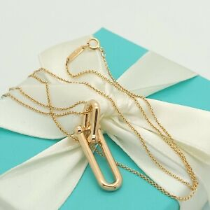 Tiffany & Co. 18k Rose Gold Hardwear Link Pendant with 20' Chain Pouch & Box