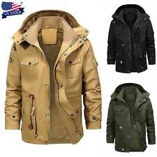 Men Winter Thick Fur Lined Hooded Jacket Zipper Warm Military Parka Coat Outwear