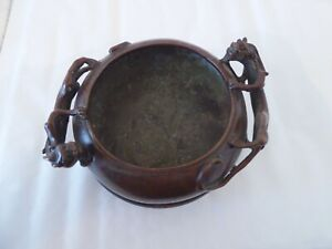 Antique Chinese bronze bowl & stand, signed