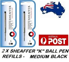 "2 X SHEAFFER K BALLPEN ""K"" BALL POINT PEN REFILL REFILLS MEDIUM BLACK BRAND NEW"