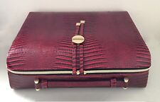 Estee Lauder Faux Crocodile Cosmetic Makeup Travel Train Case With handle - Red