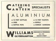 1953 Williams Crown Street Wolverhampton Kettles Ad