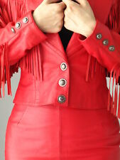 NORTH BEACH  RED LEATHER FRINGED  OUTFIT - JACKET,  SKIRT and TOP -size 4-6