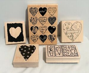 VALENTINES DAY Hearts Love Wood Collage Rubber Stamps Lot of 5