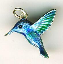 "925 Sterling Silver Enamel Humming Bird Pendant  Blue Green Shades  Length 3/4"""