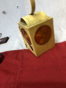 Old Vintage Yellow Road Lantern Lamp For Restoration