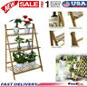 Multifunction 3 Tier Folding Shelf Stand Bamboo Flower Pot Display Rack Bookcase