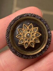 Antique Button Victorian Era Celluloid in Metal flower, sun or snowflake